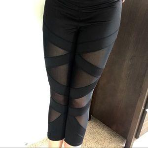Jessica Simpson Black The Warmup Mesh Net Leggings